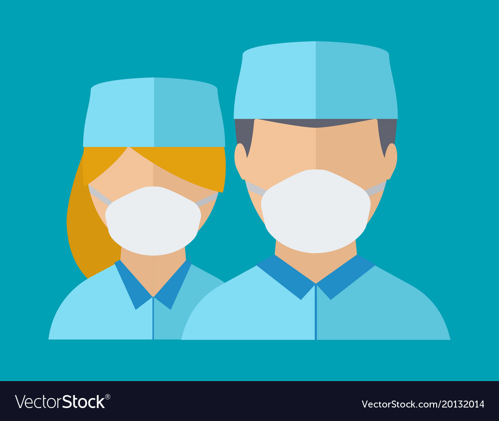 Doctor spetialist vector avatar face medical staff people. Medical doc specialists concept flat design people character. Doctor man and woman medical center face mask uniform vector.